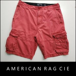 American Rag CIE Men Flat Front Cargo Shorts Red